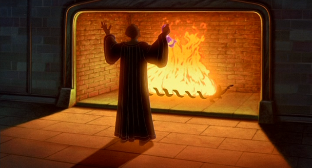 Hellfire: Judge Frollo before his fireplace