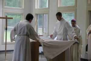 Sam and I vesting the Altar