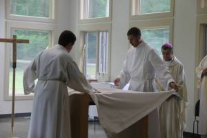 Sam and I vesting the Altar